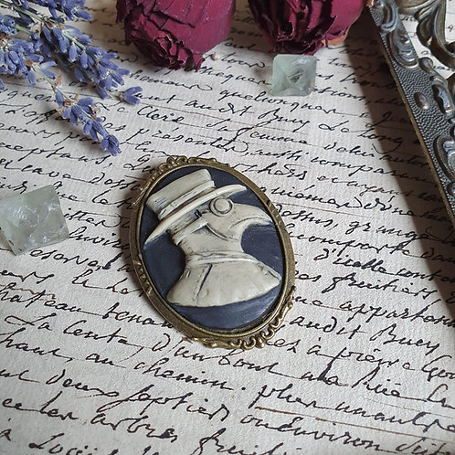 Plague doctor cameo gothic bronze brooch