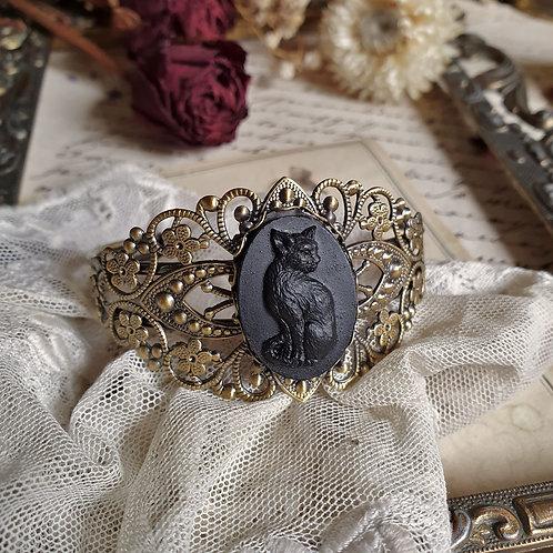 Bracelet gothique victorien camée chat noir bronze