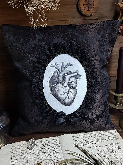 Gothic anatomical heart cameo pillow damask