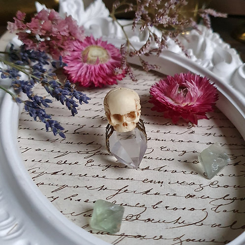Miniature human skull gothic bronze ring