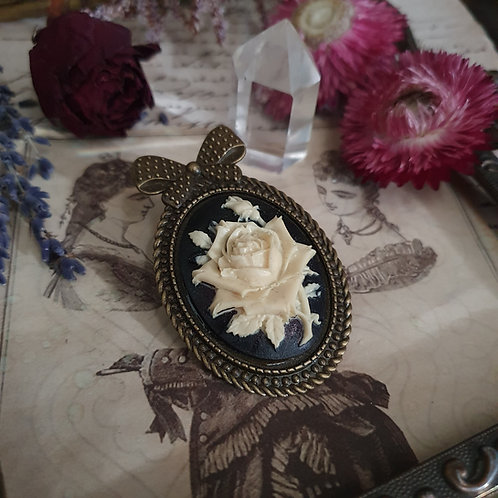 bronze gothic victorian roses cameo bow brooch