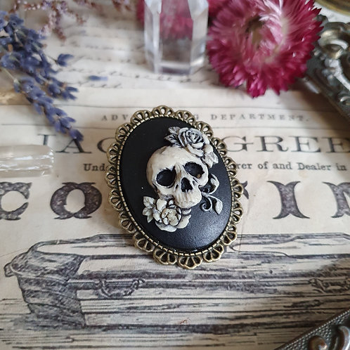 Gothic bronze skull and roses cameo brooch