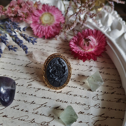 Black mourning roses cameo ring gothic victorian funeral