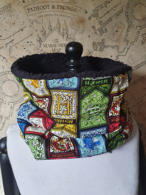 Harry potter winter furry snood scarf hogwarts house pride