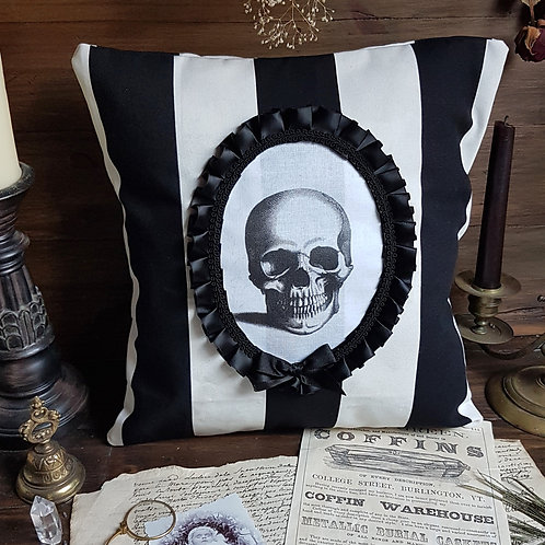 Black and white striped skull cameo pillow halloween