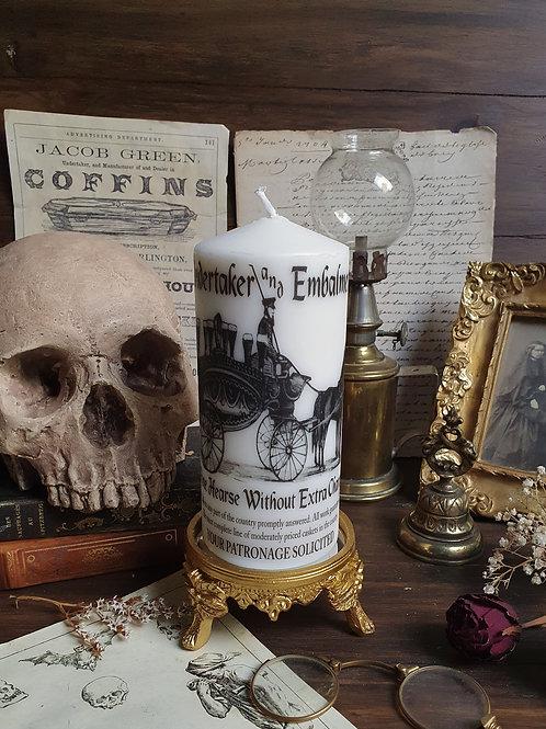 Victorian undertaker funeral decorative pillar candle gothic