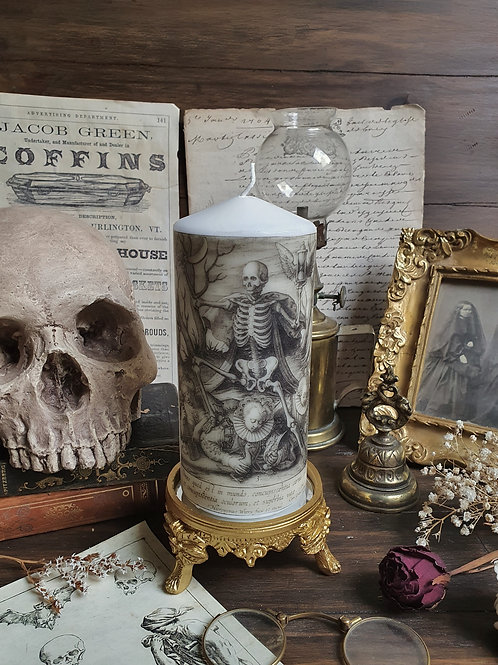 The death old engraving decorative pillar candle gothic
