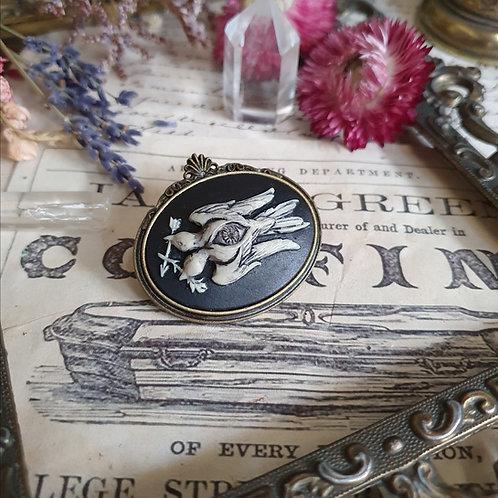 Gothic steampunk eye birds cameo bronze brooch