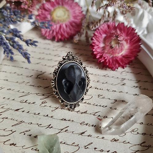 black vampire bat skull gothic victorian ring silvertone