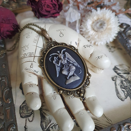 Gothic cameo necklace occult idol baphomet cameo