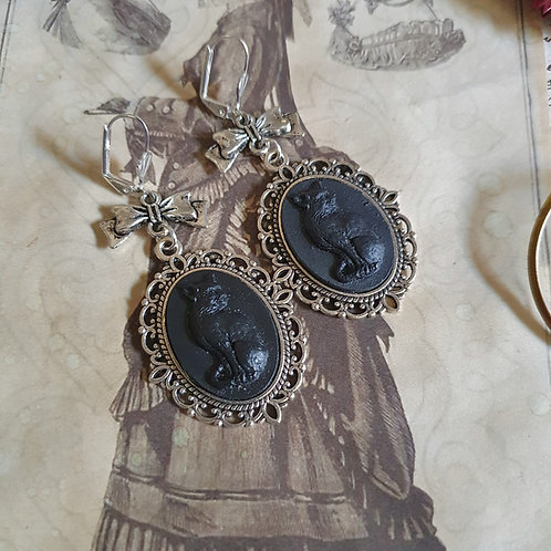 Black witch cat gothic cameo earrings