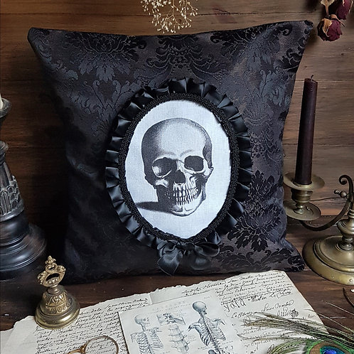 Black skull cameo gothic victorian pillow