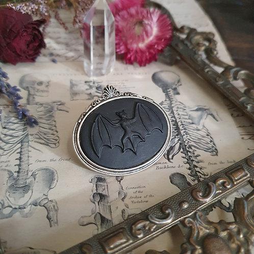 Black bat vampire cameo silver brooch gothic
