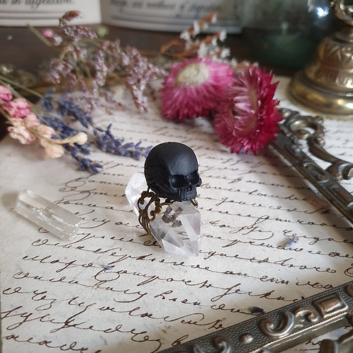 Black human skull gothic witch lace ring