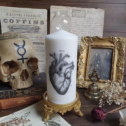 Gothic anatomical heart pillar candle decorative