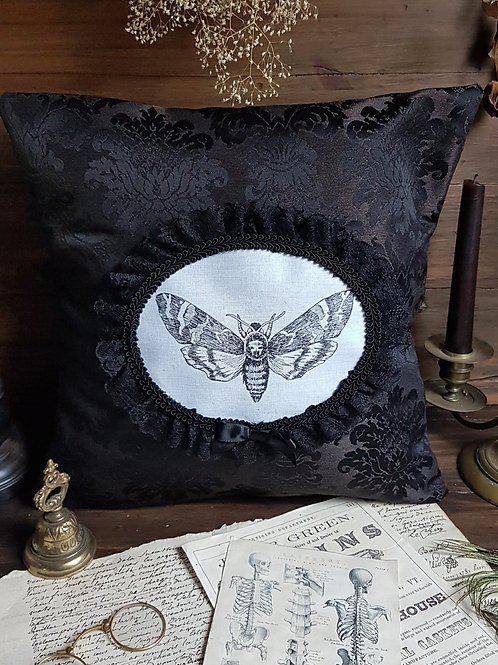 Black moth gothic victorian cameo pillow