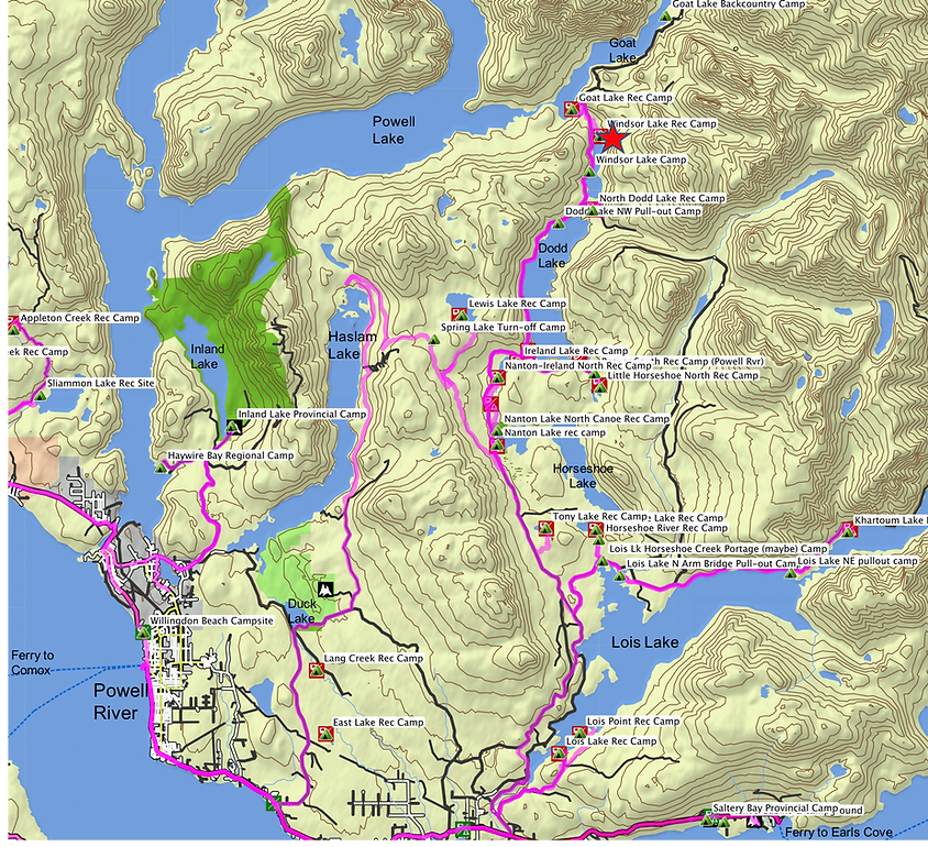Location & route map | Windsor Lake Rec Camp | cycle touring north Sunshine Coast