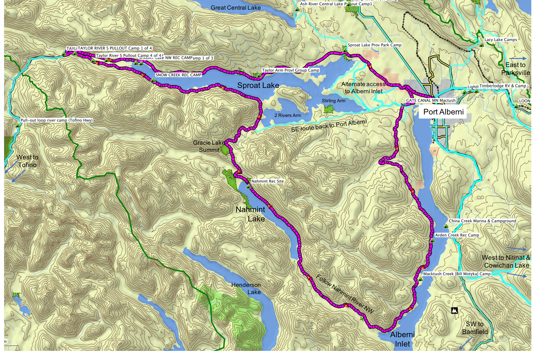 Alberni Inlet Nahmint Lake Map