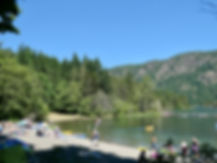 Beach at Gordon Bay Provincial Campground   Cowichan Lake   cycle touring Vancouver Island