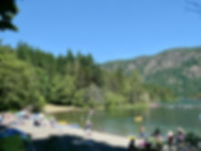 Swimming at Gordon Bay Provincial Campground   cycling Cowichan Lake   cycle touring Vancouver Island