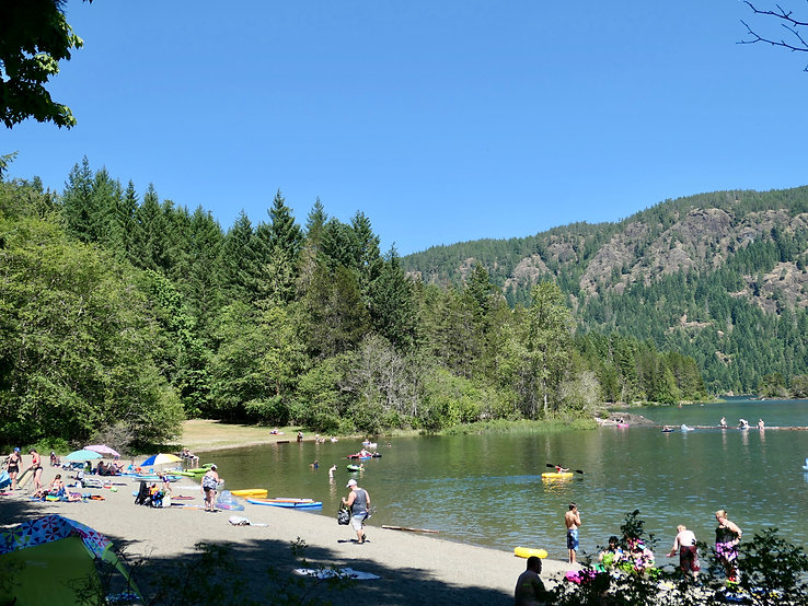 Swimming at Gordon Bay Provincial Campground | cycling Cowichan Lake | cycle touring Vancouver Island