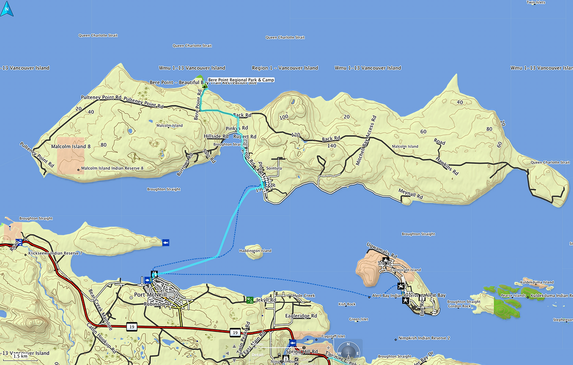 Route map, Bere Point Regional Campground | Malcolm Island | cycle touring north Vancouver Island