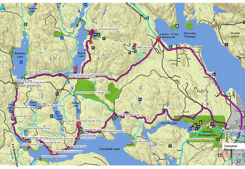 Route map, Campbell River NW Lakes | fav backroads ride | cycle touring Vancouver Island | bikepacking