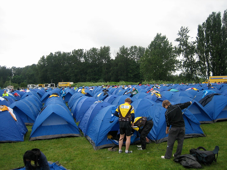 Counteless tent in a field | Ride to Conque Cancer