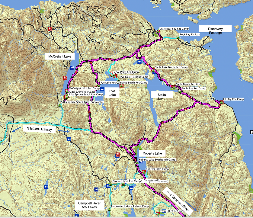Fav ride Route map | NE of Roberts Lake | Stella Lake, Pye Lake, McCreight Lake | cycle touring Vancouver Island