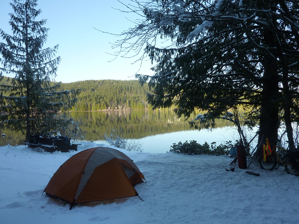 Winter camping on Brewster Lake