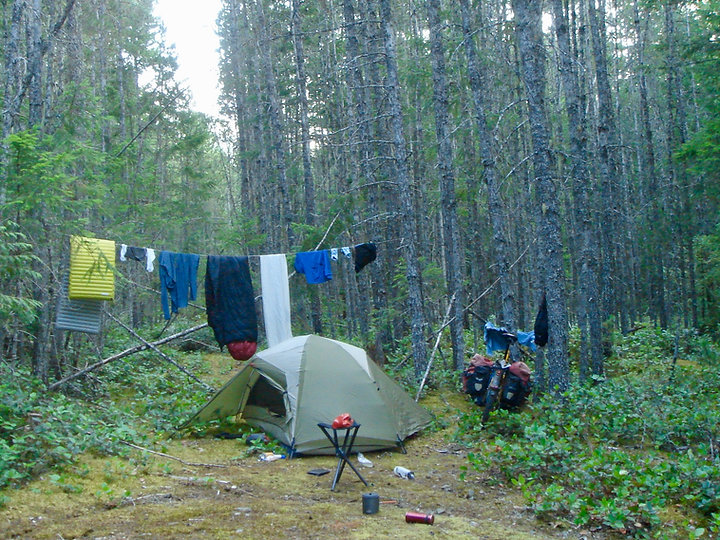 Camping & drying gear | cycle touring & staying dry | cycle touring Vancouver Island