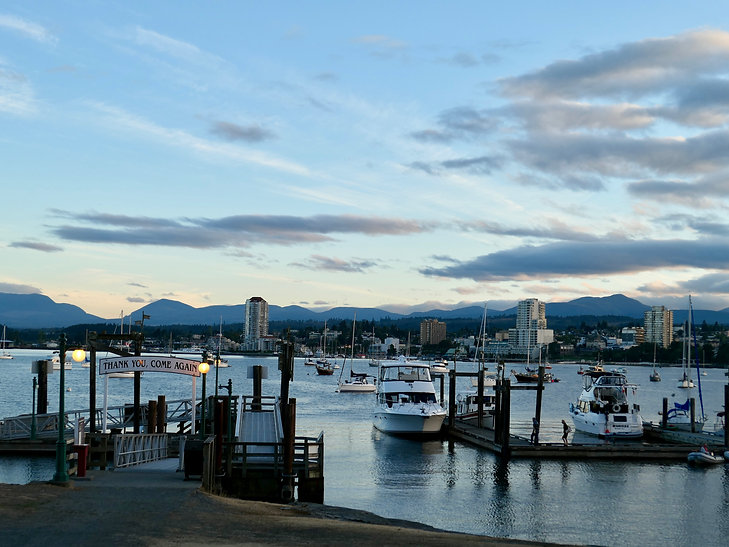 Nanaimo harbour at dusk | Newcastle Island Provincial Campground | cycle touring Vancouver Island