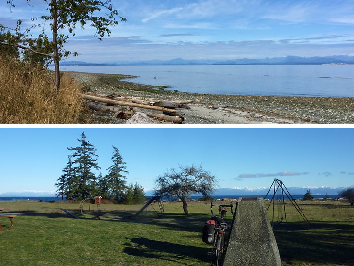 Courtenay area cycling campgrounds | Kin Beach & Miracle Beach Campgrounds | cycle touring Vancouver Island