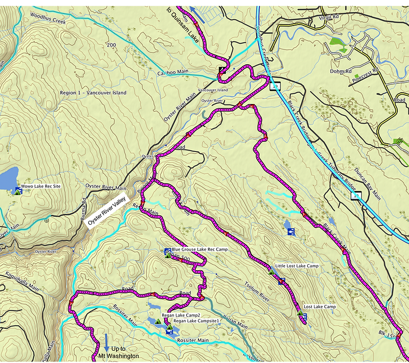 Fav ride route map (2 of 2) | bikepacking Courtenay NW lakes | cycle touring Vancouver Island