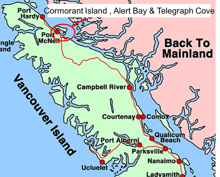 Location Map | Port McNeill, Malcolm Island, Cormorant Island, Telegraph Cove | cycle touring north Vancouver Island