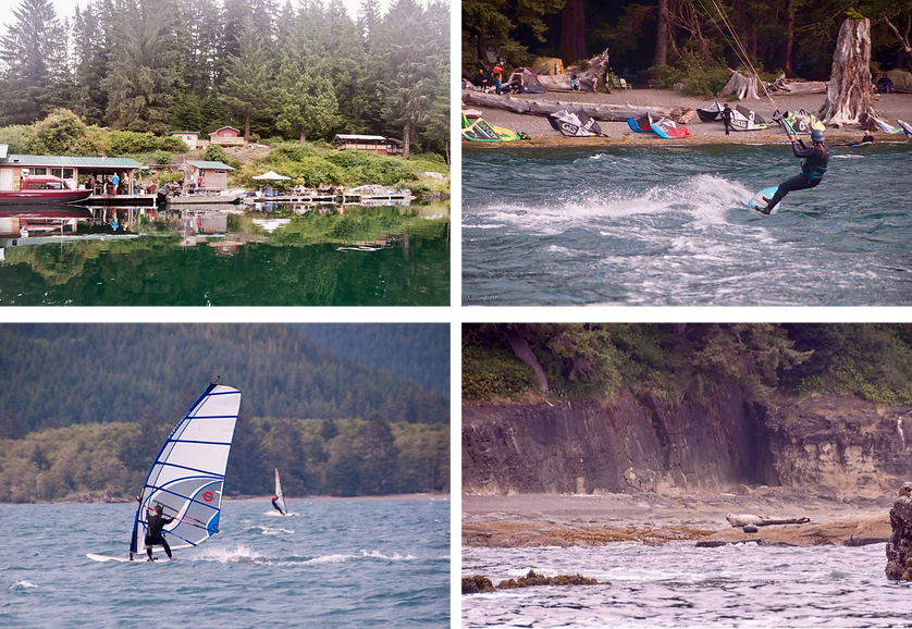 Nitinat Lake Rec Campground | kite skiing & wind surfing | cycle touring Vancouver Island