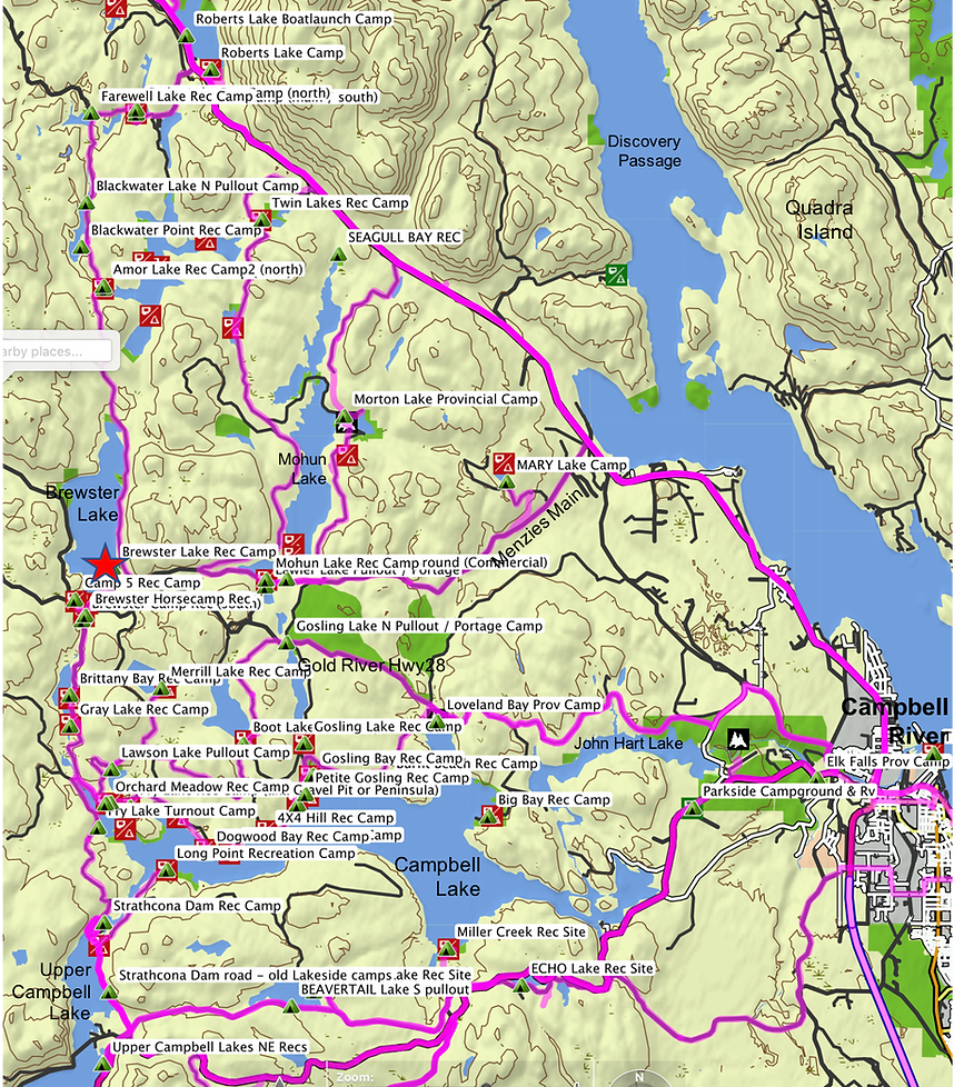 Location & route map | Brewster Lake Rec Camp | cycle touring Vancouver Island