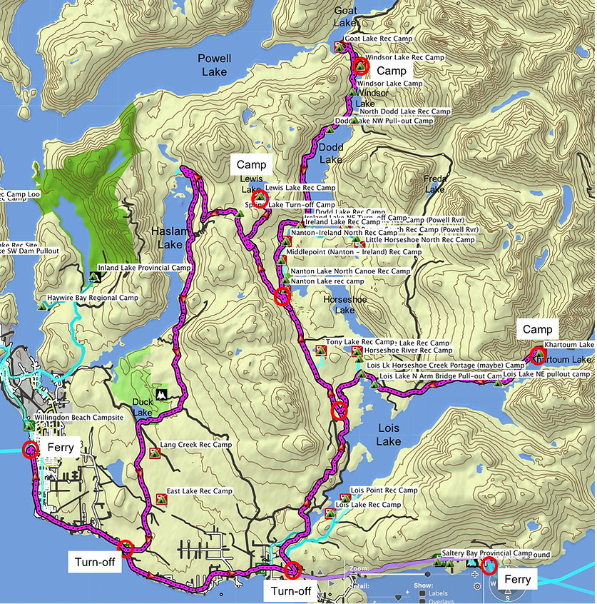 Fav bikepacking ride route map (1 of 2) | Powell River NE Lakes | cycle touring north Sunshine Coast