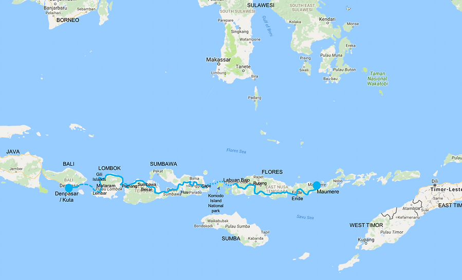 Route map East Indonesian Islands | cycle touring east Indonesia | cycling Flores | cycling Sumbawa | cycling Lombok