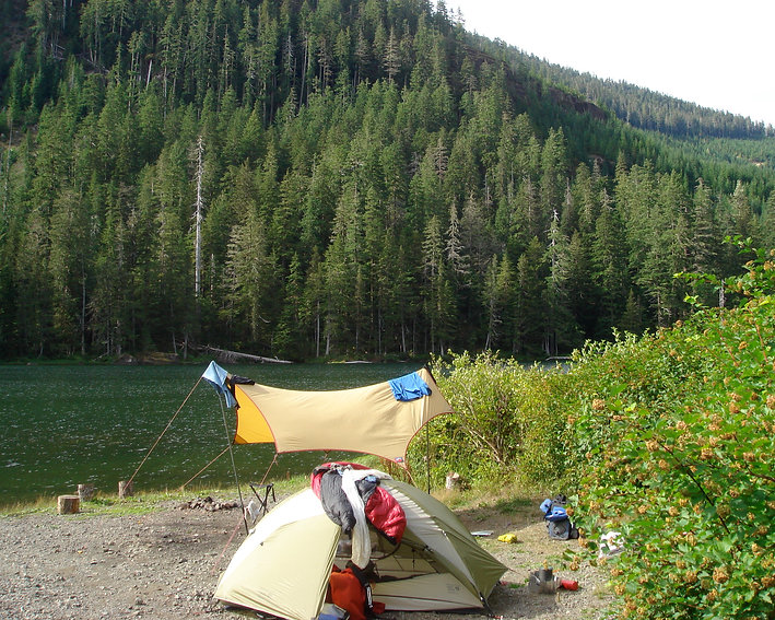 Toy Lake Fav campground | bikepacking Strathcona Park | cycle touring Vancouver Island