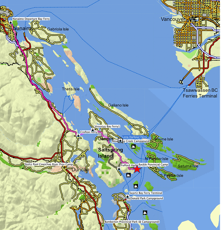 Location & route map | Ruckle Provincial Park, Saltspring Island | cycle touring south Gulf Islands