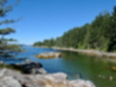 Swimming beach, Saltery Bay Provincial Campground, cycle touring Sunshine Coast
