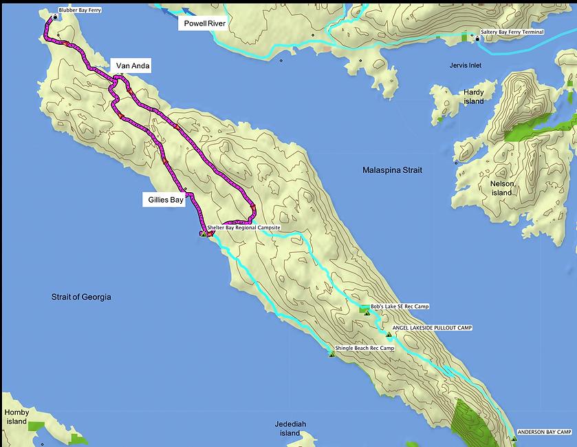 Fav ride route map | cycle touring Texada Island north | north Sunshine Coast