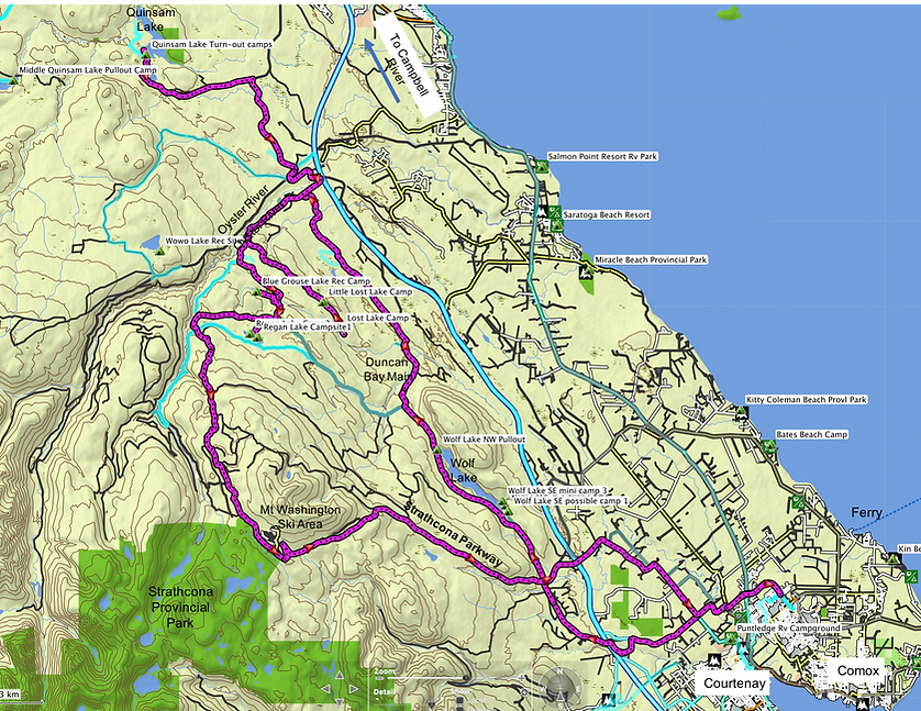 Fav ride Route map (1 of 2) | bikepacking Courtenay NW Lakes | cycle touring Vancouver Island