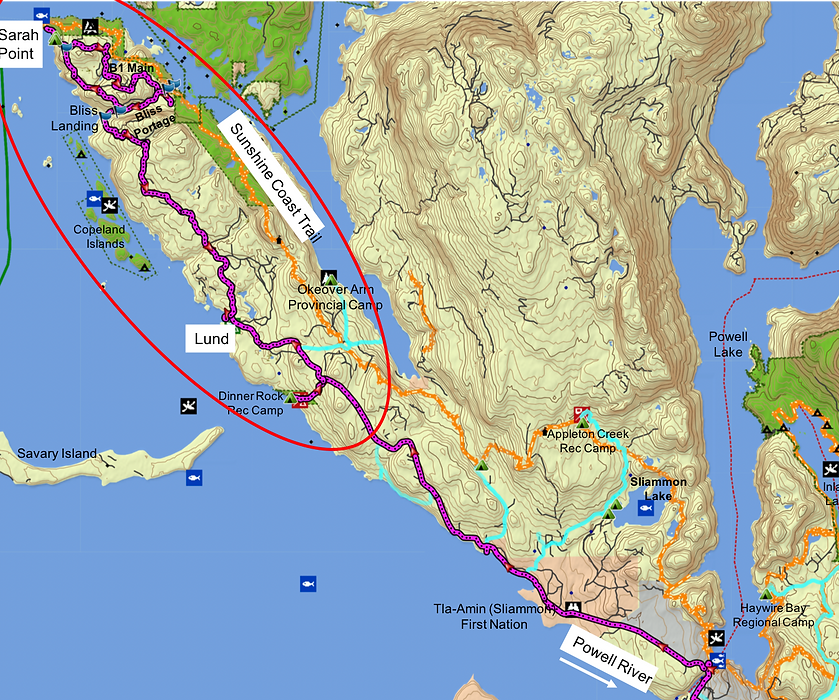 Fav ride route map | bikepacking to Sarah Point | cycle touring Malaspina Peninsula