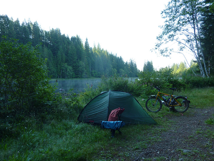 WIld camping at Little Lost Lake | Piggott Main & Oyster River | bikepacking lakes NW of Courtenay