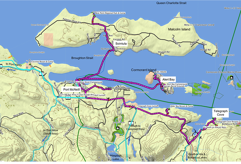 Fav ride route map | Malcolm Island, Alert Bay, Telegraph Cove | cycle touring north Vancouver Island
