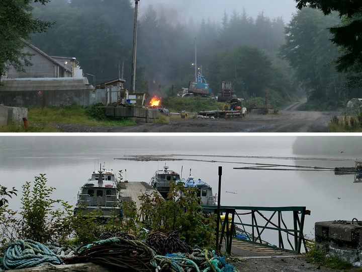 Mahatta River depot & docks | bikepacking to Side Bay | cycle touring north Vancouver Island