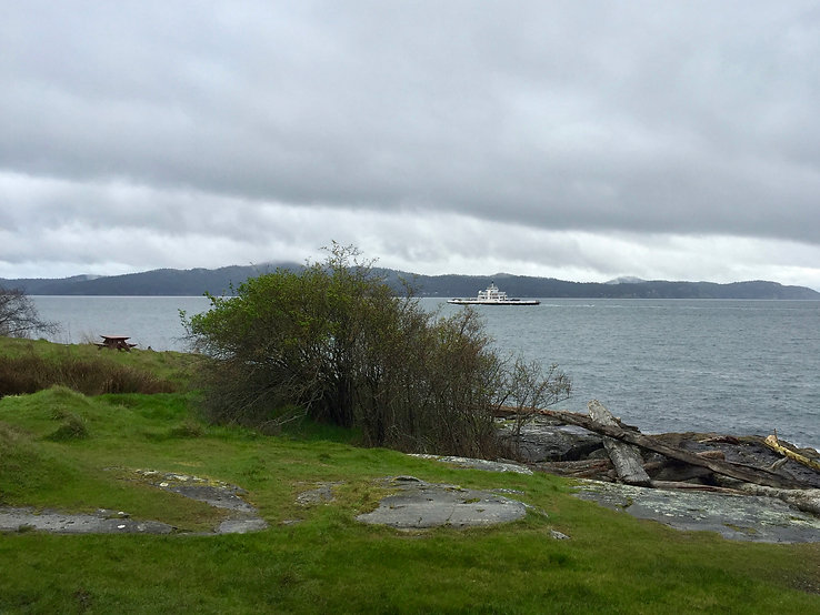 Ruckle Provincial Campground | ferries passing SE Saltspring Island | cycle touring south Gulf Islands