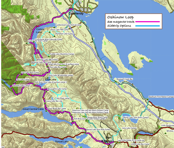 Oshinow Loop route map (1 of 3) | bikepacking Port Alberni to Courtenay | cycle touring Vancouver Island